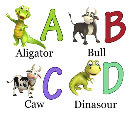 aligator: 3d rendered illustration of Aligator, Bull, Caw and Dinasour with Alphabate