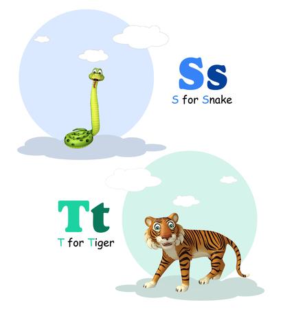 3d snake: 3d rendered illustration of Snake and Tiger with Alphabate