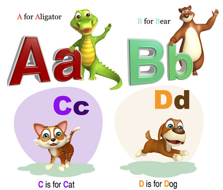 aligator: 3d rendered illustration of Aligator, Bear, Cat and Dog with Alphabate