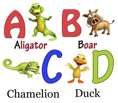 chamelion: 3d rendered illustration of Aligator, Boar, Chamelion and Duck  with Alphabate