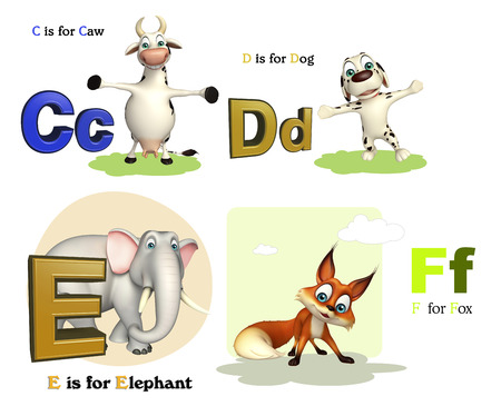 3d rendered illustration of Caw, Dog, Elephant and Fox with Alphabate