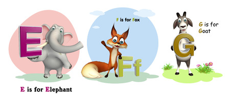 3d rendered illustration of Elephant, Fox and Goat with Alphabate