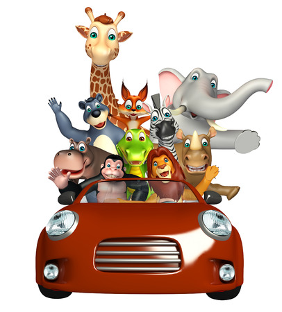 apes: 3d rendered illustration of Alligator,Apes, Bear,Elephant,Fox,Giraffe,Hippo,Lion,Rhino and Zebra collection with car Stock Photo