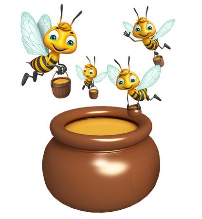 honey pot: 3d rendered illustration of Bee with Honey pot