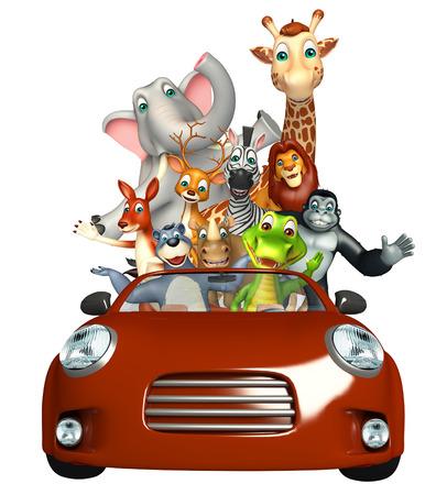 apes: 3d rendered illustration of Alligator,Apes, Bear,Dear,  Elephant,Giraffe,Kangaroo,Lion,Rhino,Zebra Collection with Car
