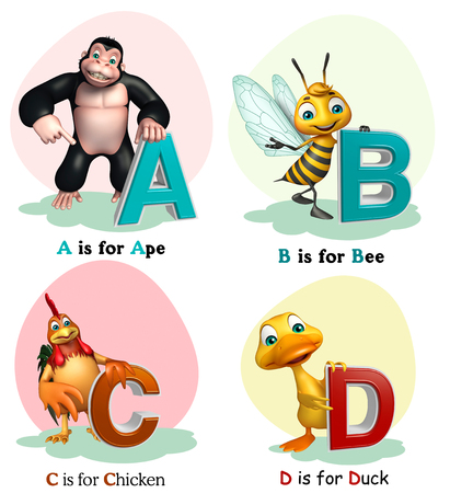 ape: 3d rendered illustration of Ape, Bee, Chicken and Duck with Alphabate