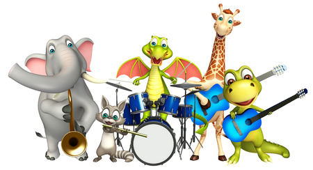 props: 3d rendered illustration of Dinasaur,Dragon,Giraffe,Raccoon and Elephant collection with props