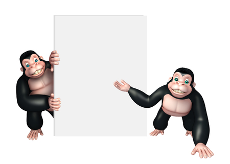 apes: 3d rendered illustration of Apes collection with white board Stock Photo