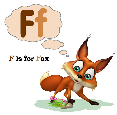 3d rendered illustration of Fox wild animal with alphabate