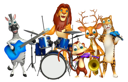 props: 3d rendered illustration of Lion,Zebra,Monkey,Dear And leopard collection with props