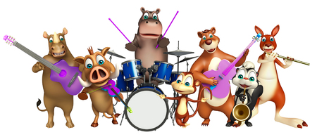 props: 3d rendered illustration of Bear,Hippo,Monkey,Rhino,Skunk and Kangaroo  collection with props