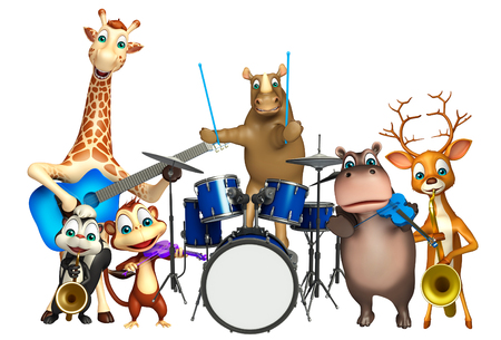 props: 3d rendered illustration of Rhino,Giraffe,Hippo,Dear,Skunk and Monkey collection with props Stock Photo