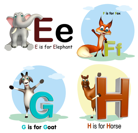 3d rendered illustration of Elephant, Fox, Goat and Horse with Alphabate