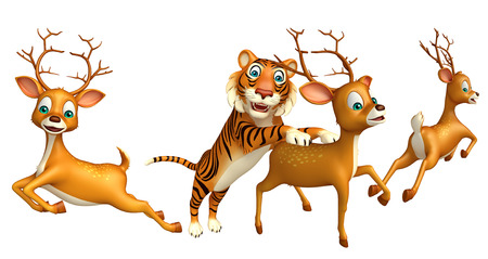 tiger hunting: 3d rendered illustration of Tiger hunting Dear Stock Photo
