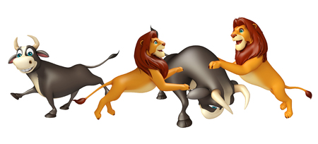 wildlife conservation: 3d rendered illustration of Lion hunting Bull Stock Photo
