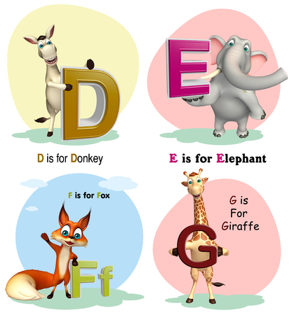 g giraffe: 3d rendered illustration of Donkey, Elephant, Fox and Giraffe with Alphabate