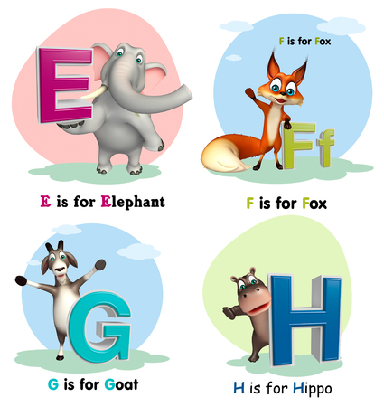3d rendered illustration of Elephant, Fox, Goat and Giraffe with Alphabate