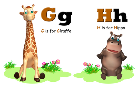 g giraffe: 3d rendered illustration of Giraffe and Hippo  with Alphabate