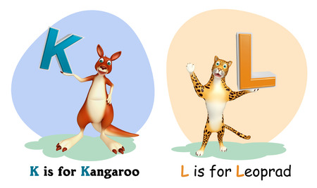 wildlife conservation: 3d rendered illustration of Kangaroo and Leopard with Alphabate