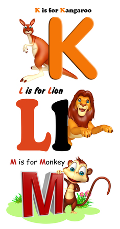 3d lion: 3d rendered illustration of Kangaroo, Lion and Monkey with Alphabate