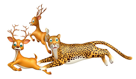 carnivores: 3d rendered illustration of Leopard hunting Dear Stock Photo