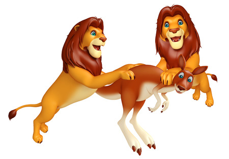 3d lion: 3d rendered illustration of Lion hunting Kangaroo Stock Photo