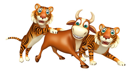 tiger hunting: 3d rendered illustration of Tiger hunting Bull Stock Photo