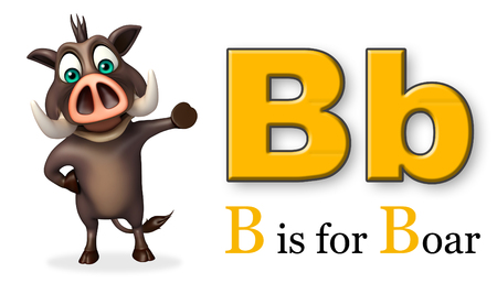 wild animal: 3d rendered illustration of Boar  wild animal with alphabate