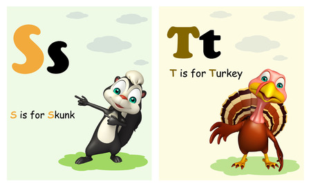 wildlife conservation: 3d rendered illustration of Skunk and Turkey with Alphabate