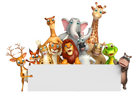safari animal: 3d rendered illustration of wild animal with white board Stock Photo