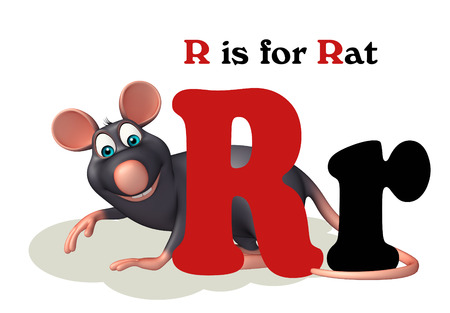 english village: 3d rendered illustration of Rat pet animal with alphabet
