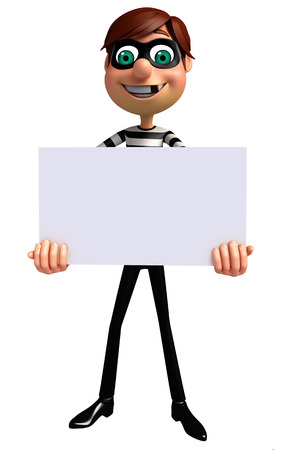 housebreaking: 3D Rendered illustration of Thief with white board