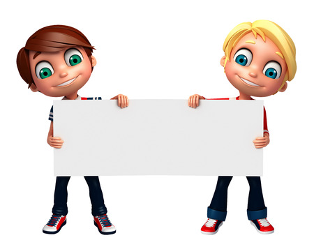 preschooler: 3D Render of Little Boy with white board