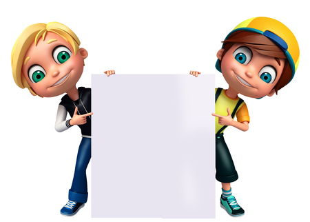 pre: 3D Render of Little Boy with white board