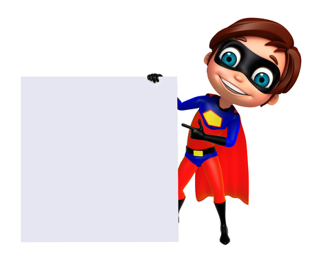 brave: 3D Rendered illustration of superhero boy with white board Stock Photo