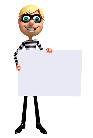 burgle: 3D Rendered illustration of Thief with white board