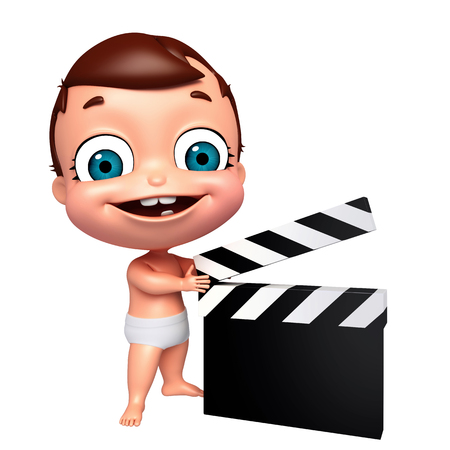 clapper board: 3D Render of baby with clapper board