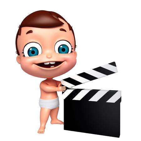 bebe a bordo: Renderizado 3D de bebé con la tarjeta de chapaleta