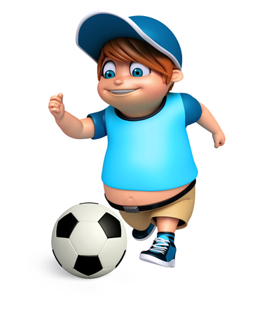 pre: 3D Render of Little Boy with playing football Stock Photo