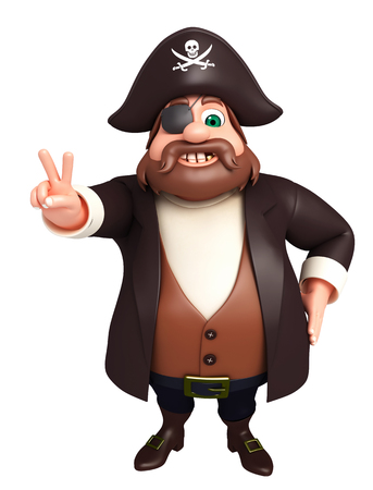 tricorne: 3D Rendered illustration of pirate victory pose Stock Photo
