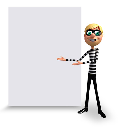 housebreaker: 3D Rendered illustration of Thief with white board