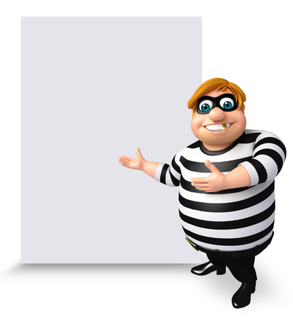 pillage: 3D Rendered illustration of Thief with white board