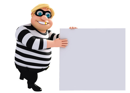 housebreaker: 3D Rendered illustration of fate  Thief with white board