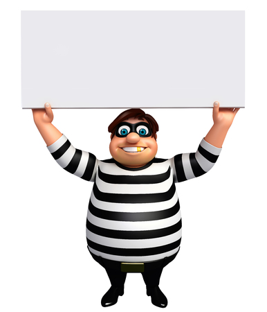 burgle: 3D Rendered illustration of fate  Thief with white board