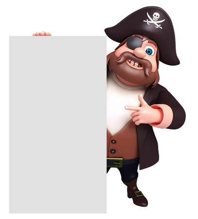 tricorne: 3D Rendered illustration of pirate with white board