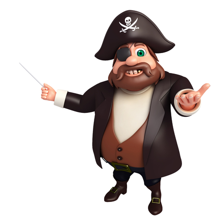 tricorne: 3D Rendered illustration of pirate Pointing pose