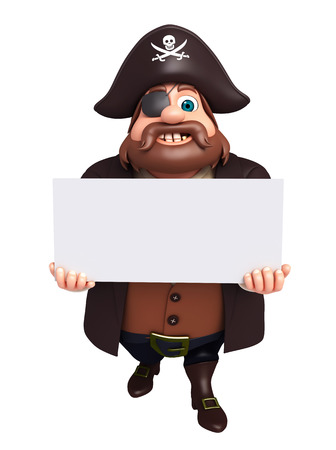 white patches: 3D Rendered illustration of pirate with white board