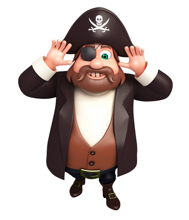 tricorne: 3D Rendered illustration of pirate funny pose