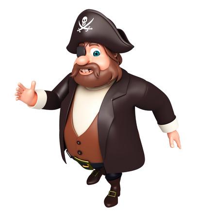 tricorne: 3D Rendered illustration of pirate walking pose