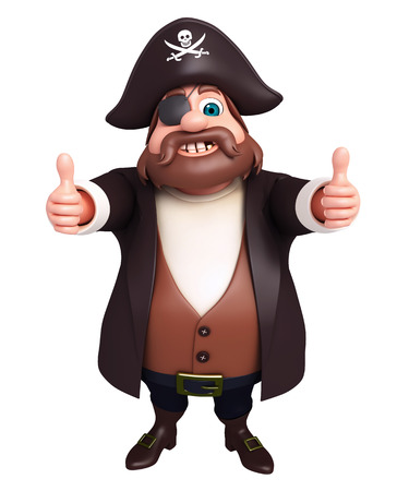 tricorne: 3D Rendered illustration of pirate with thumbs up pose Stock Photo